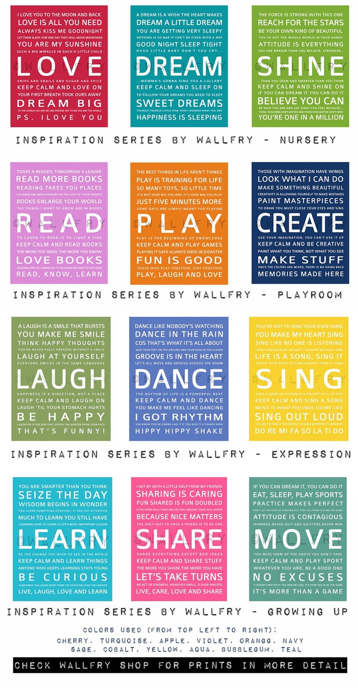 Typography art prints for kids playroom art. Kids Wall Art. Inspiration quote prints for  sc 1 st  Pinterest & The 116 best Poetry/quotes kids images on Pinterest | Learning ...