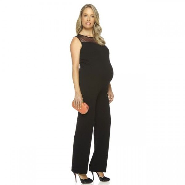#Cara #Maternity #Jumpsuit By #Chic #Maternity Modern maternity jumpsuit with sheer panel around neckline, a classy look for a chic mum-to-be.
