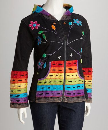 Take a look at this Black Rainbow Pocket Zip-Up Hoodie - Plus by Rising International on #zulily today!