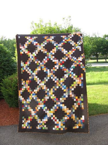 Scrappy Irish Chain quilt ... all scrappy!  my favorite kind