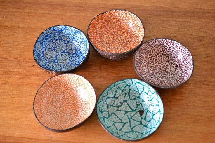Vintage 5 x coconut bowls tiki tropical - Funky Flamingo