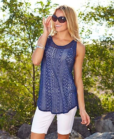 The Women's Sleeveless Lace Tunic has a breathable construction that keeps you comfortable on warm days.