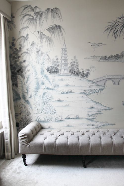 386 best home chinoiserie images on pinterest for Chinoiserie mural wallpaper