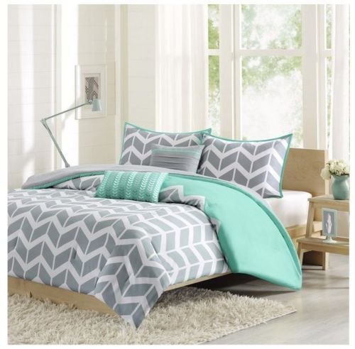 NEW-Full-Queen-Cal-King-Bed-Bag-5-pc-Gray-Teal-Chevron-Zig-Zag-Comforter-Set-NWT