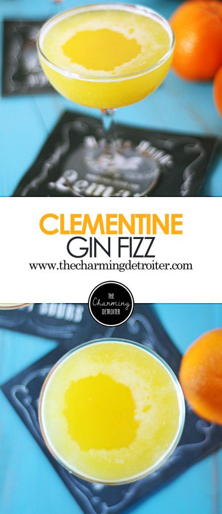 Clementine Gin Fizz: A refreshing cocktail of fresh clementine juice paired with thyme simple syrup in a classic gin fizz.