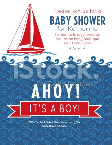 Nautical Theme Baby Shower Party Invitation royalty-free stock vector art