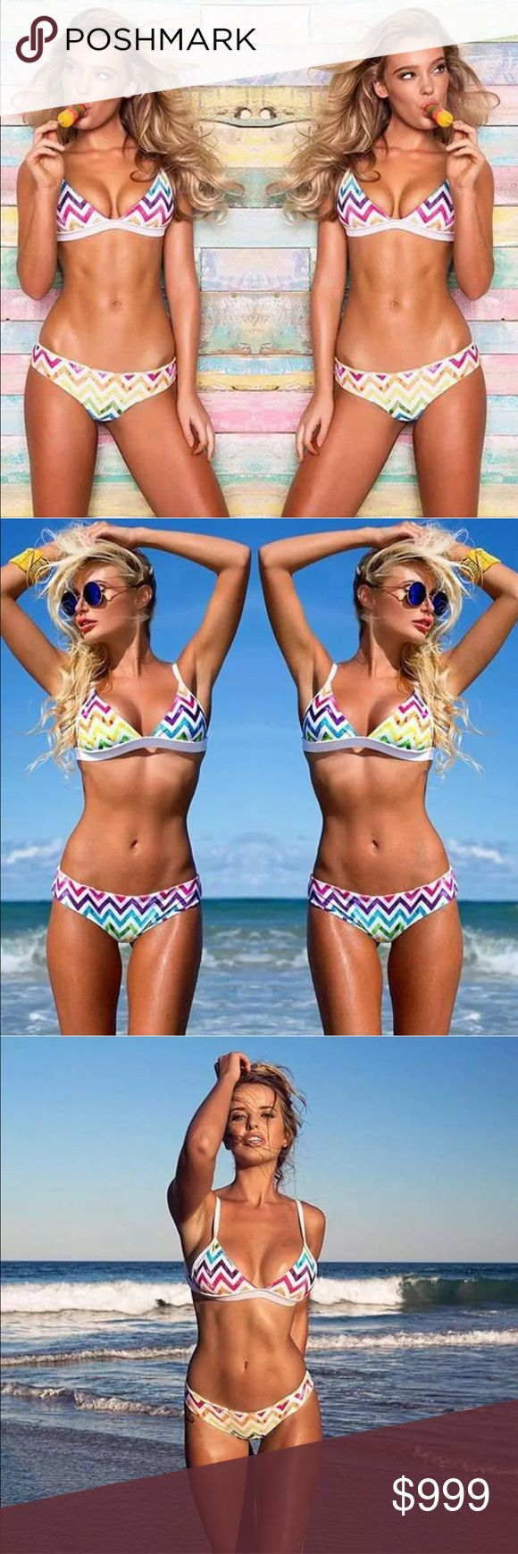 Preview! Rainbow Chevron Triangle Bikini  Preview! Rainbow Chevron Bandage Triangle Bikini  Like this listing and comment below to be notified upon arrival! Swim Bikinis
