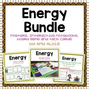 This bundle, which includes the Energy Poster and Interactive Notebook (INB) set, Energy Task Cards and Energy Board Game, covers potential energy, kinetic energy, gravitational potential energy, chemical potential energy, elastic potential energy, chemical energy, nuclear