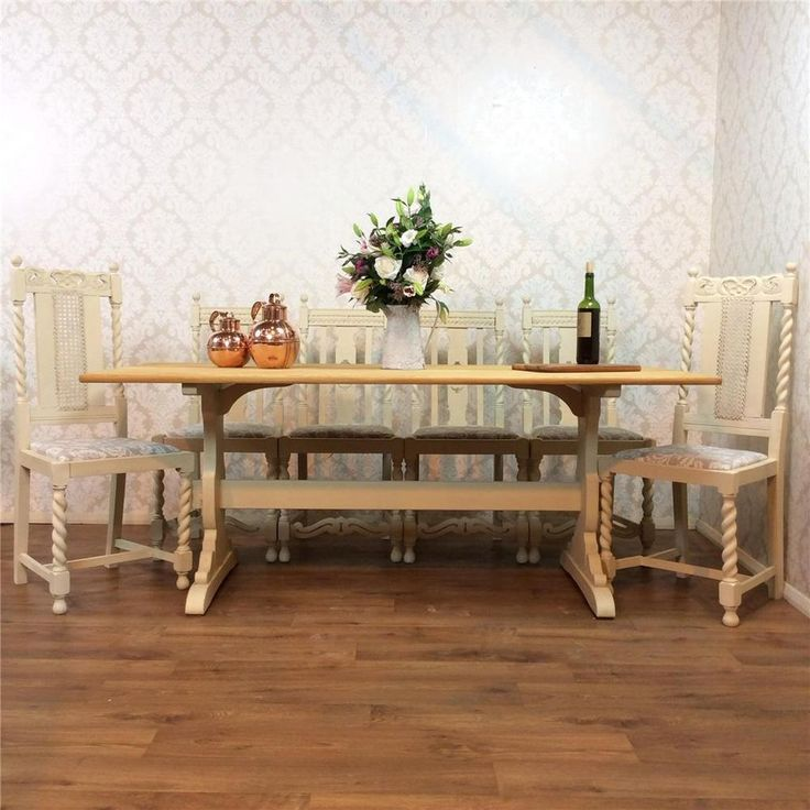Kitchen Tables And More: Huge Shabby Chic Dining Table 6 Chairs Kitchen Rustic