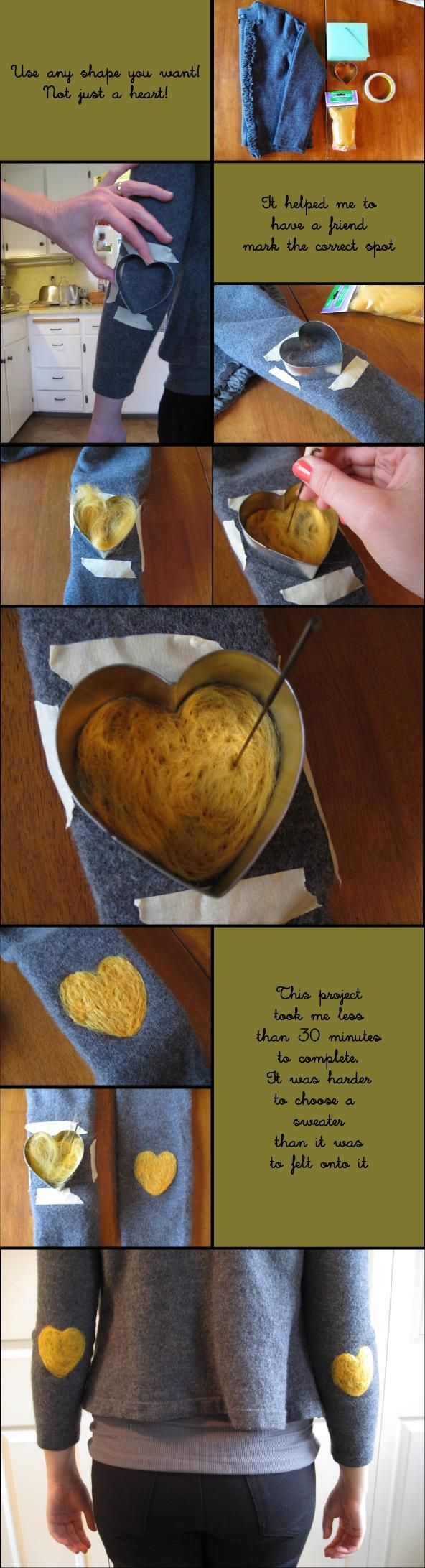 DIY SWEATERS : DIY Felt-Patched Sweater