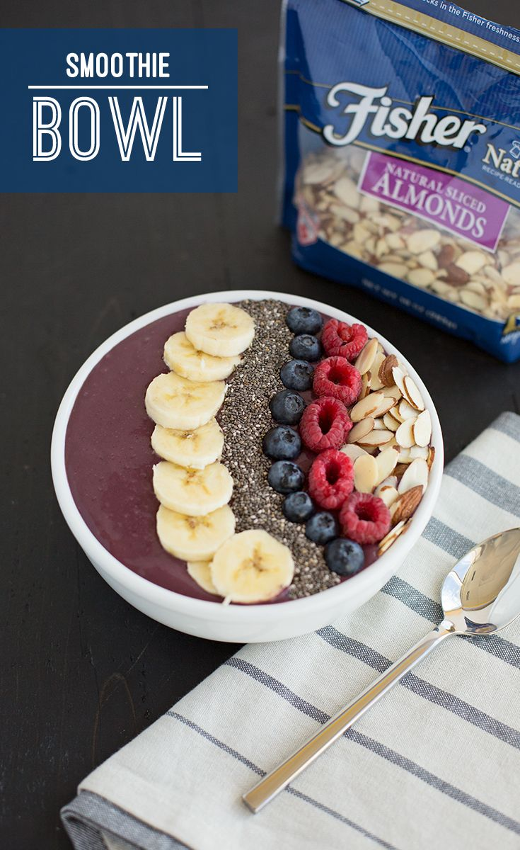 Power up your breakfast by whipping up this super simple 2-step smoothie bowl, packed with protein and antioxidants for healthy fuel throughout your day!        Ingredients: frozen acai berries, Greek yogurt, banana, chia seeds, blueberries, raspberries and FISHER Sliced Almonds Directions: Blend frozen acai berries with Greek yogurt until smooth. Pour into a bowl and top with bananas, chia seeds, blueberries, raspberries and FISHER Sliced Almonds. Enjoy!