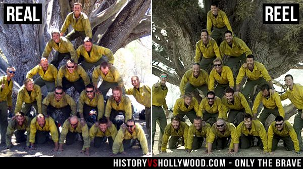 The real Granite Mountain Hotshots vs. their 'Only the Brave' movie counterparts. Read 'Only the Brave: History vs. Hollywood' http://www.historyvshollywood.com/reelfaces/only-the-brave/ #wildfirefestival #wildfires #firefighters #fireman #wildfire #forestfire #movies #history #milesteller #joshbrolin #fireman #fire