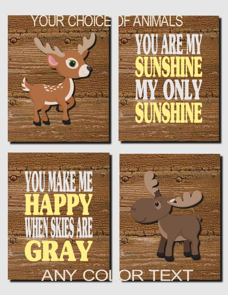 Woodland Wall Art Woodland Decor Baby Boy Nursery Moose Deer Forest Animals You Are My Sunshine Yellow Gray Set Of 4 Prints Or Canvas
