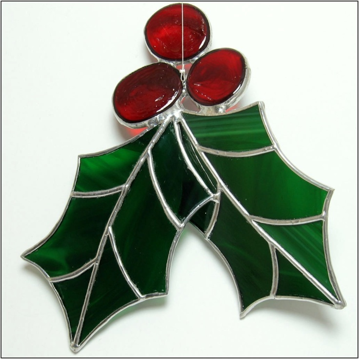 Holly Berry  3 D Stained glass big Christmas ornament - FREE POSTAGE. €25.00, via Etsy.