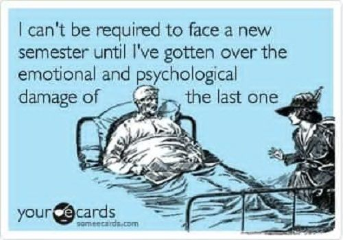 Nursing School eCard--I can't be required to face a new semester until I've gotten over the emotional and psychologic damage of the last one. So true.