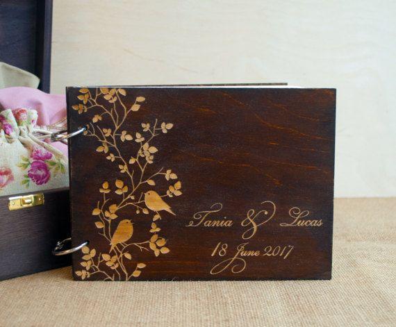 Love Birds Guest Book  Wedding Birds  Wood Wedding by WoodYourDay