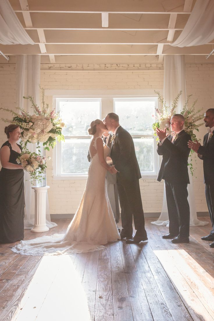 First Kiss Picture   Brik Fort Worth   DFW Wedding Photographer   Proof Photography