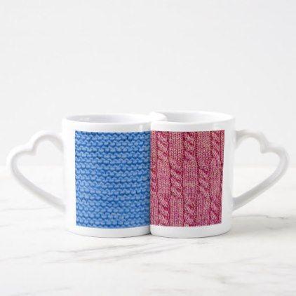 #Knit Pink and Blue Coffee Mug Set - #knitting #gifts