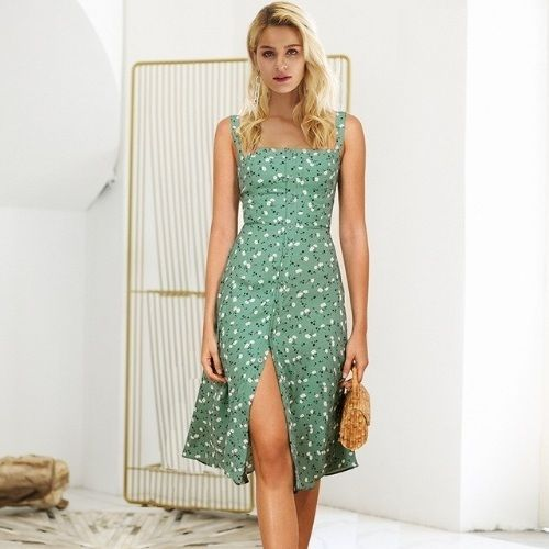a06443cc2ef3 CLICK   BUY  ) Casual green knee length summer bohemian dress button down  boho floral dress summer dress outfit boho dress style outfit bohemian dress  ...