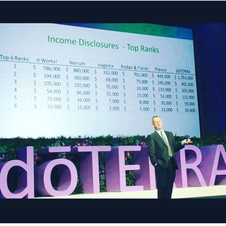 Check out these incomes for some of the top MLM companies. . .  Take a good hard look at  dōTERRA's income  There's more than one reason I do this.   Most companies don't have a high retention rate of keeping customers coming and continuously buying what they have -- dōTERRA's retention rate is in the 90% range.   Just something to think about.