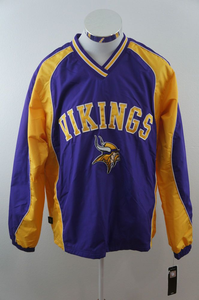 NEW NFL Team Apparel Minnesota Vikings Windbreaker Purple & Yellow Medium NWT #TeamApparel #Windbreaker #MinnesotaViking
