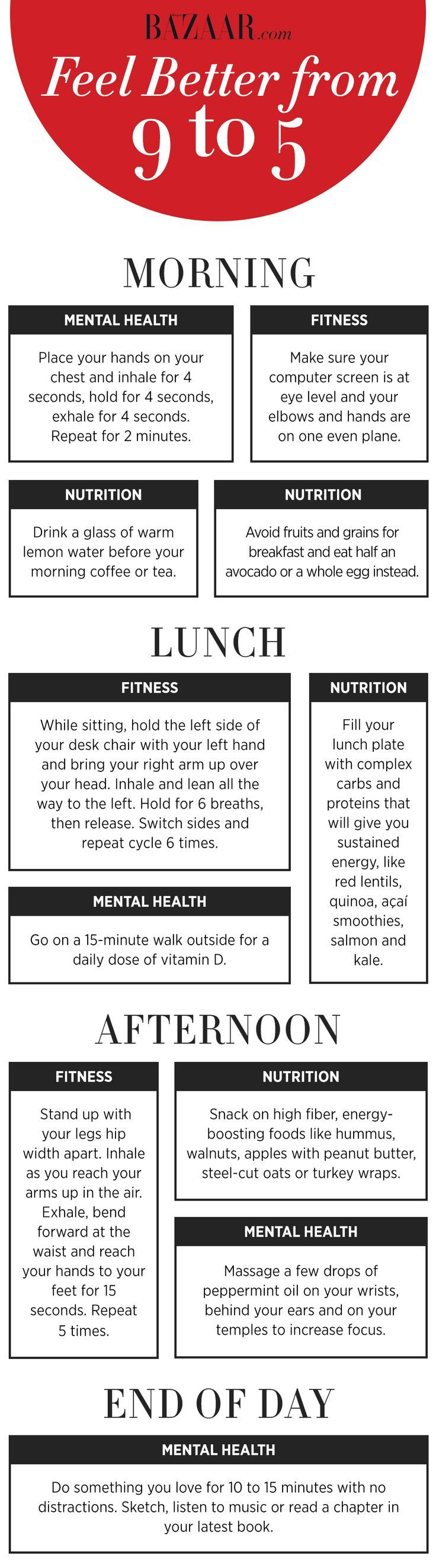 How to get more energy throughout the day and feel better in the office. Follow this healthy daily routine