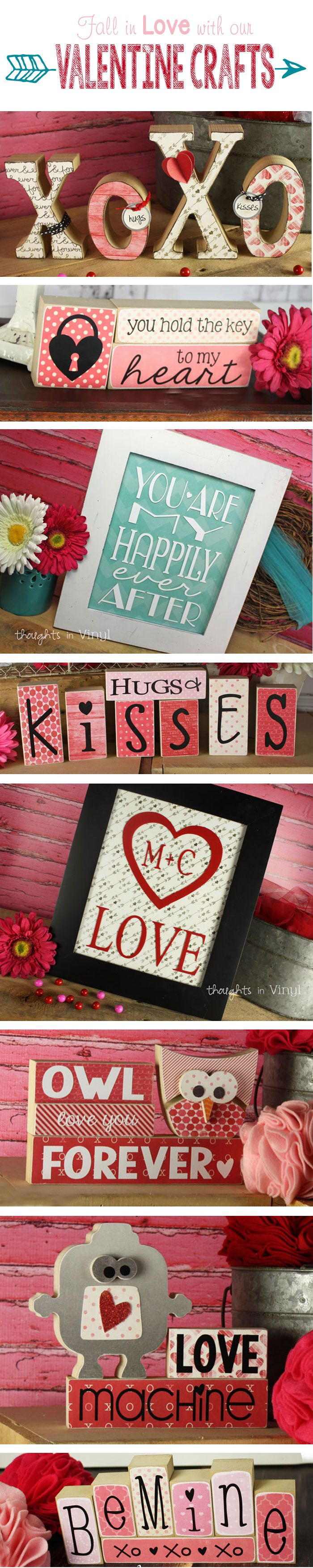 Lots Of Cute Valentineu0027s Day Wood Crafts! Wooden Letters And Shapes And Cute  Vinyl Lettering