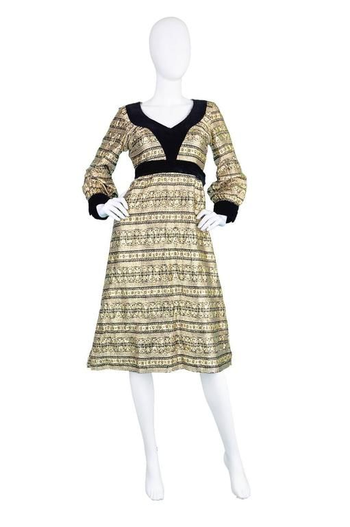 Jean Varon Gold Lamé Brocade & Velvet A-Line Evening Dress, 1970s