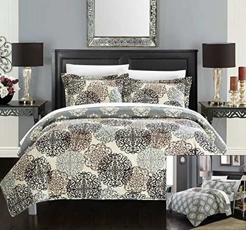 perfect home 3 piece dorothy boho inspired reversible print quilt set king beige