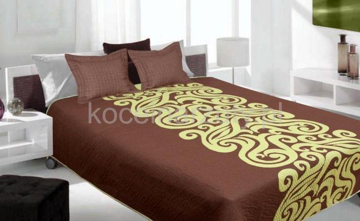 Brązowa dwustronna narzuta na łóżko z zielonym ornamentem
