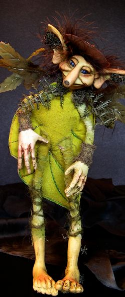 Fantasy Figurative Art dolls by MARCA made with polymer clay and cloth.