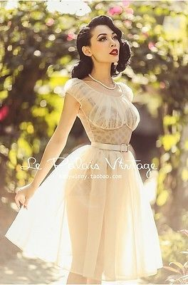 le palais vintage retro 1950 full transparent Dress and corset (SIZES:XS, S, M)