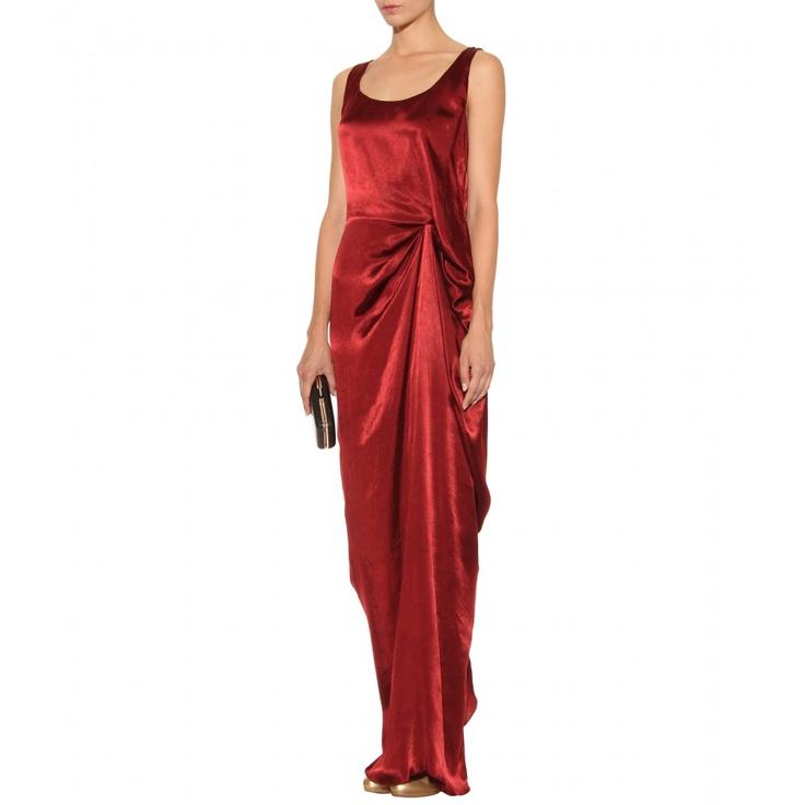 Lanvin Silk Gown With Modern Drafed Trim