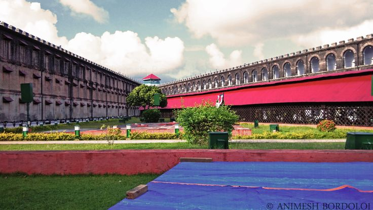 A view of 2 of the 7 wings of Cellular Jail, Port Blair, Andaman, converging into the watchtower in the distance  http://magicalfed.blogspot.in/2017/03/postcards-from-andaman-cellular-jail.html
