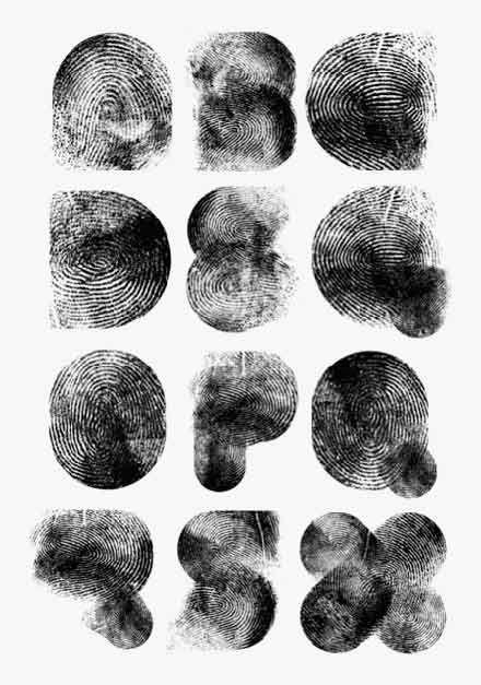 指紋で作ったタイポグラフィ
