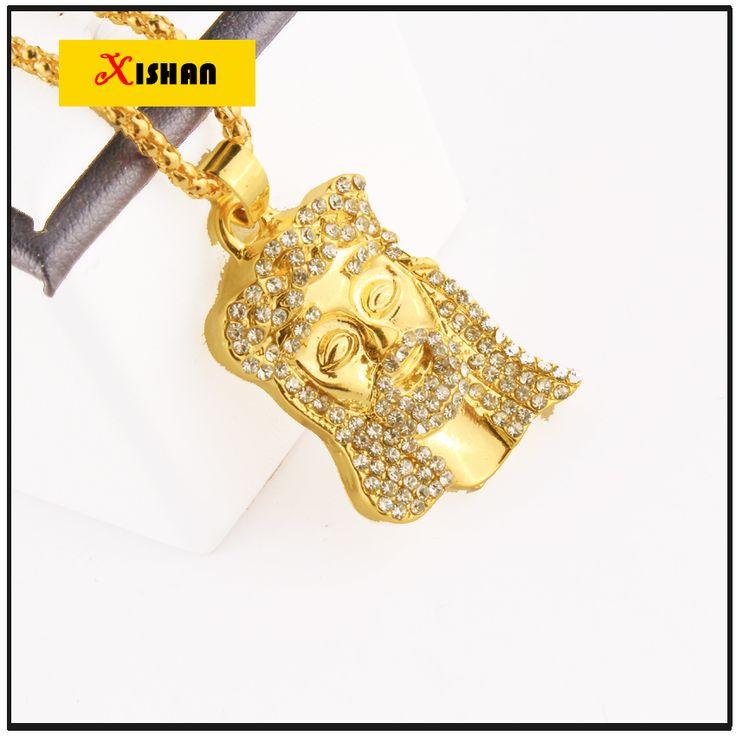Gold Überzog JESUS Christus Stück Kopf Gesicht Hip Hop Anhänger Halskette Charme Kette Für Männer und Frauen Trendy Urlaub Zubehör