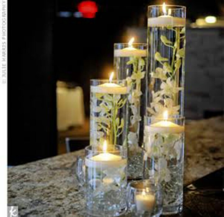 Candle Flower Centerpiece : Flowers and floating candles wedding centerpieces