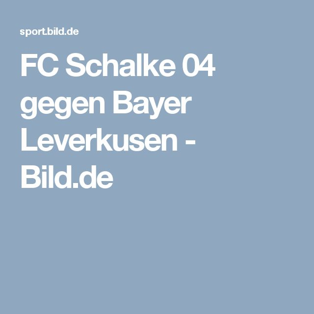 FC Schalke 04 gegen Bayer Leverkusen     -  Bild.de
