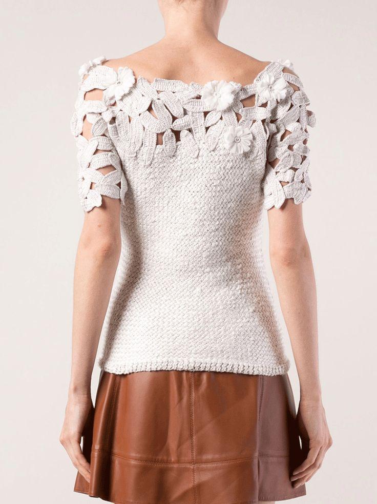 OSCAR DE LA RENTA Jewel Neck Crochet Top #crochettop