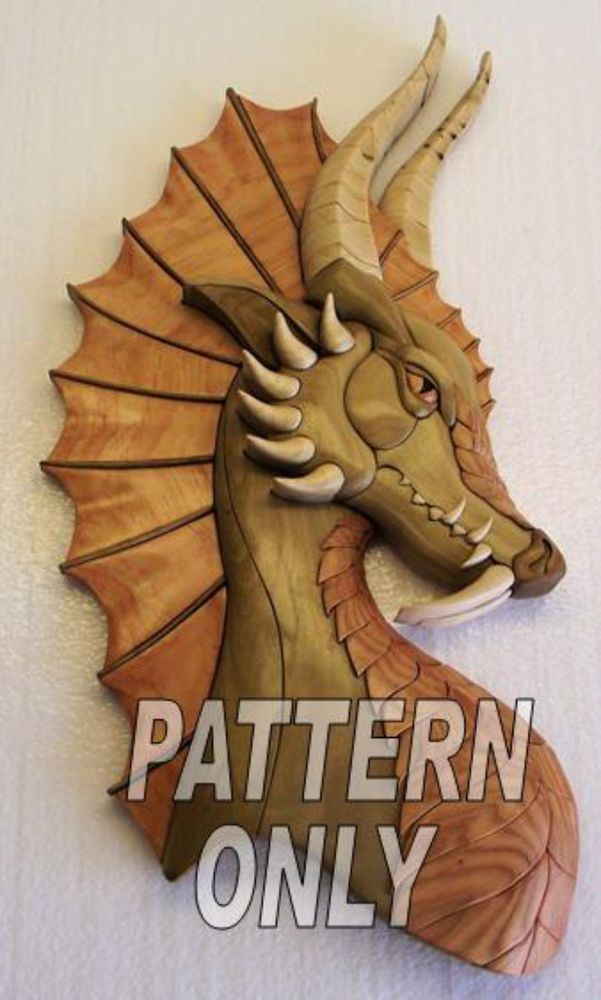Intarsia wood pattern; DRAGON W/EAR (Original)