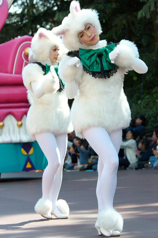 Cheerleader wearing pantyhose and mascot costume