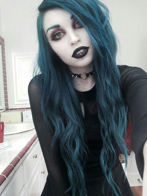 Pastel Goth Fashion / Gothic Girl / Black Dress / Jewelry / Pastel Blue Hair / Cosplay // ♥ More at: https://www.pinterest.com/lDarkWonderland/