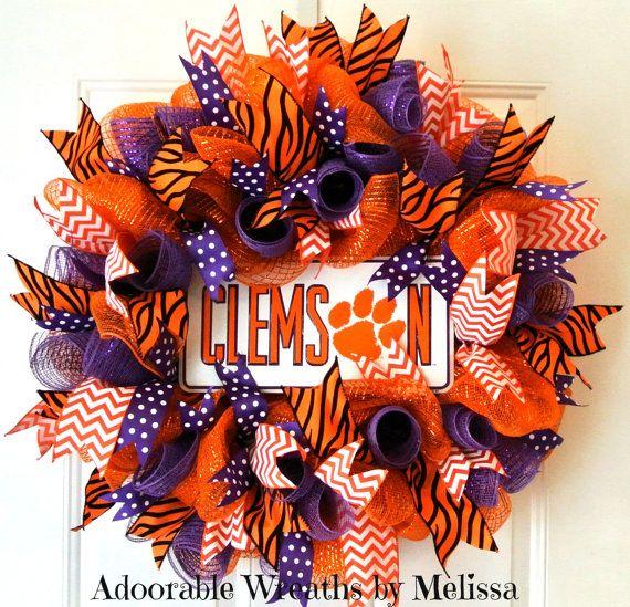 Clemson Wreath Adoorable Wreaths by Melissa