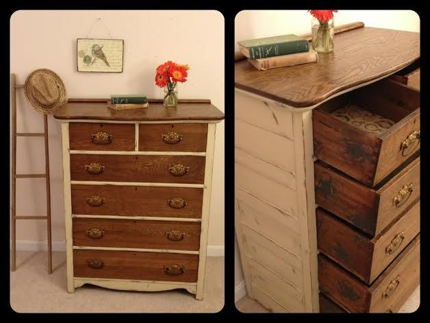 Reserved Rustic Antique Cream And Wood Dresser Shabby