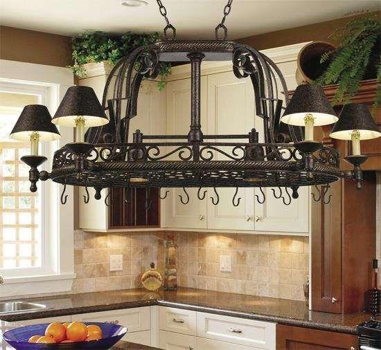 Rustic Kitchen Lighting Fixtures Dark Bronze Pot Rack