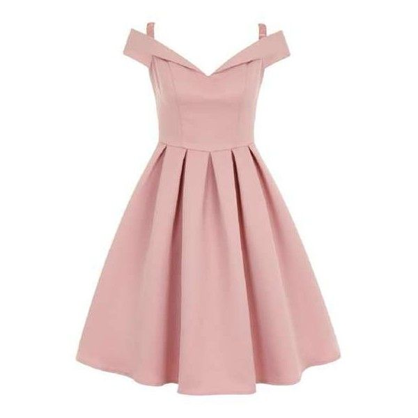 *Chi Chi London Pink Fold Over Bardot Midi Dress (120 AUD) ❤ liked on Polyvore featuring dresses, calf length dresses, pink dress, pink day dress, chi chi dresses and midi dresses