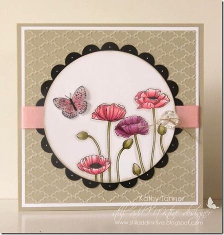 Pleasant Poppies stamp. SU Card by Kathy @ Stamping Still