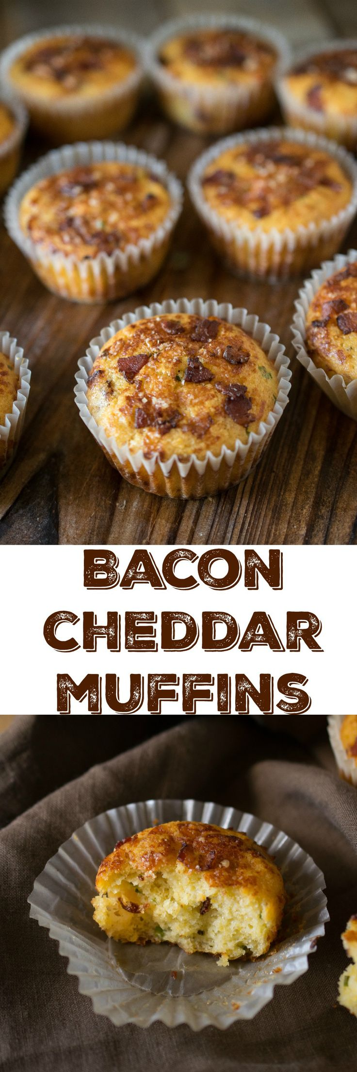 Bacon cheddar muffins - Bacon in a soft, fluffy muffin with cheese! Does it get any better than that?