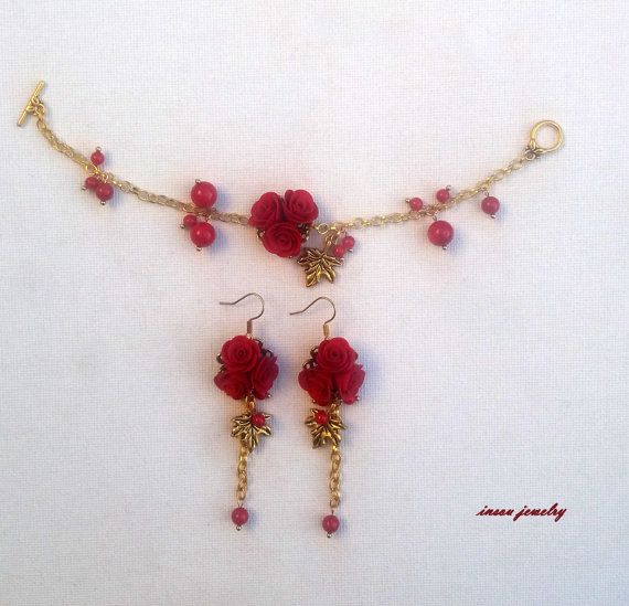 Red Jewelry Red Bracelet Red Earrings Red Roses by insoujewelry