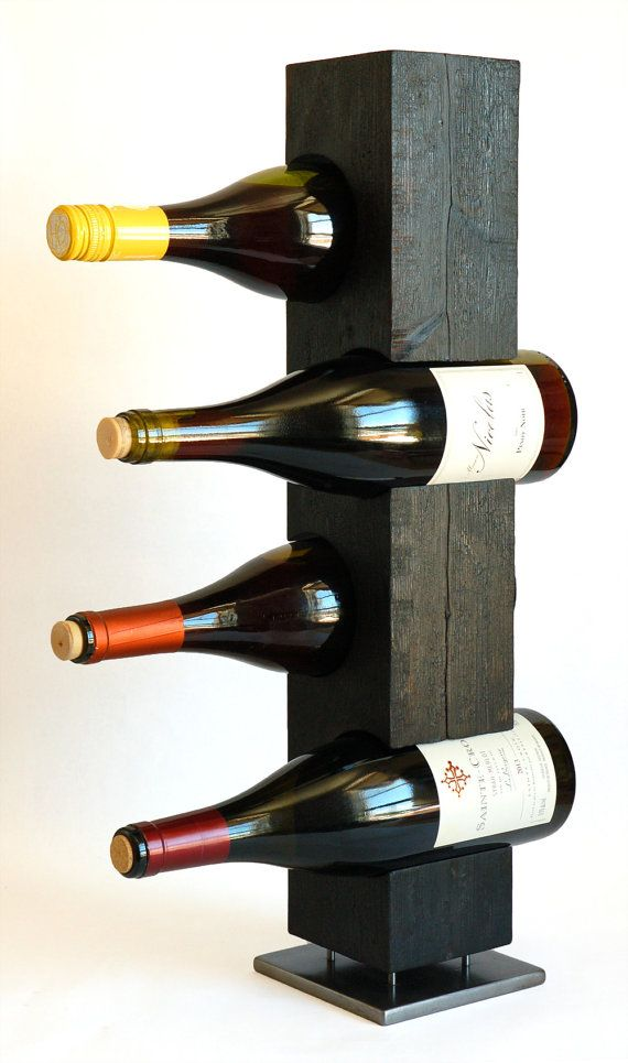 Charred Cedar Standing Wine Rack, Japanese Shou-Sugi-Ban, Native Vermont Northern White Cedar Wood, Steel, Ready to Ship